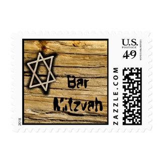 Wood Bar Mitzvah Star Postage Stamp