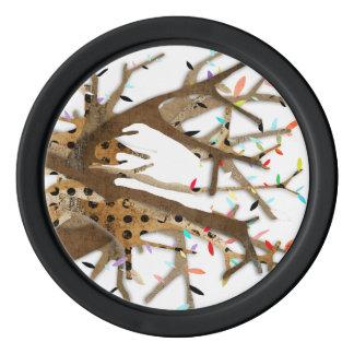 Wood Bark Polka Dots Wedding Tree Set Of Poker Chips