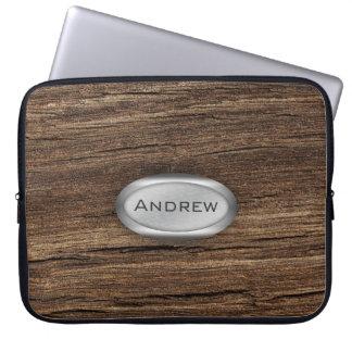 Wood Bark Texture Pattern Metallic Nameplate Laptop Sleeve
