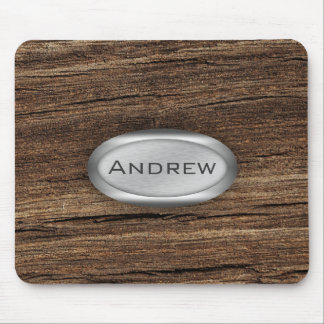 Wood Bark Texture Pattern Metallic Nameplate Mouse Pad