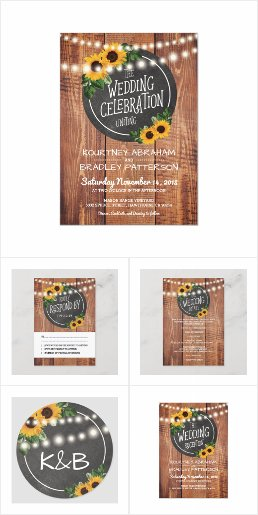 Wood Barn Sunflower Invitation Suite