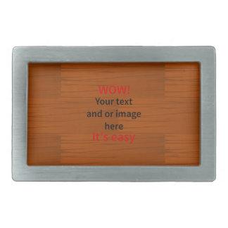 Wood Base Lyer Add Your own Text Rectangular Belt Buckle