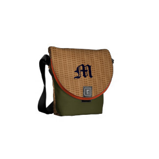 wood basket initial messenger bag