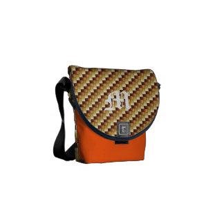 wood basket two-tone initial messenger bag