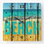 Wood Beach Sign Style Clocks