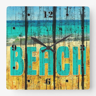 Wood Beach Sign Style Square Wall Clock
