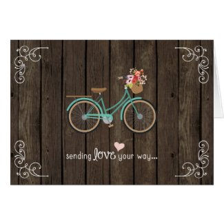 Wood Bicycle Happy Valentine's Day Card