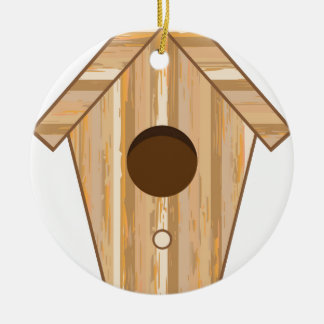Wood Birdhouse Ceramic Ornament