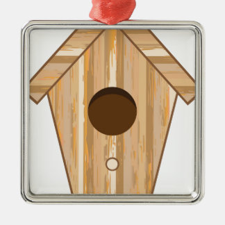 Wood Birdhouse Metal Ornament