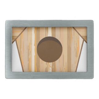Wood Birdhouse Rectangular Belt Buckle
