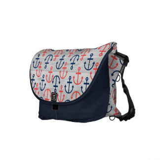 Wood & Blue & Coral Nautical Boat Anchors Pattern Messenger Bag