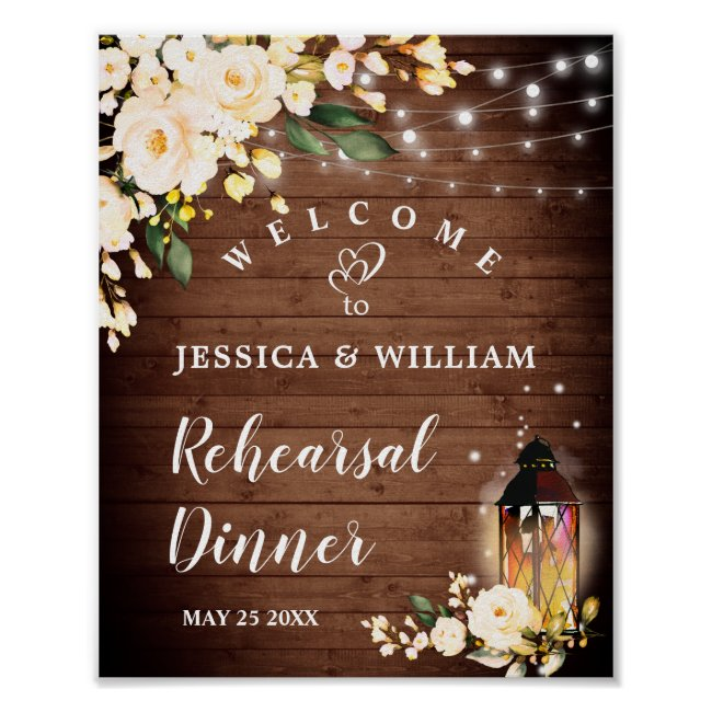 Wood & Blush Roses  Floral Rehearsal Dinner Sign