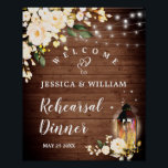 "Wood & Blush Roses  Floral Rehearsal Dinner Sign<br><div class=""desc"">Enjoy your Engagement Party with this unique poster with Wood & Blush Roses Rustic Floral  Bouquet  . If you need a help,  contact me,  please.</div>"