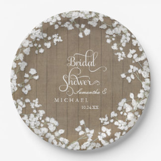 Wood Board Bridal Shower Decor Script Babys Breath Paper Plate