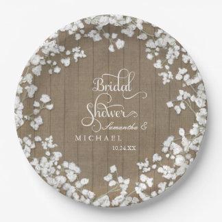 Wood Board Bridal Shower Decor Script Babys Breath Paper Plate