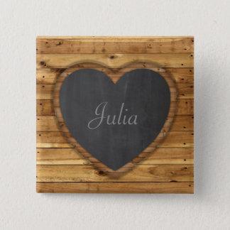 Wood Board Texture Graphic Heart Chalkboard Pinback Button