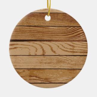 Wood boards texture ceramic ornament