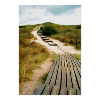 Wood Boardwalk Path to the Sea Poster