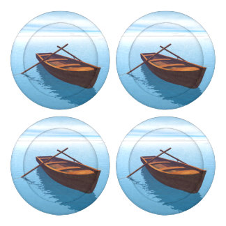 Wood boat - 3D render Button Covers