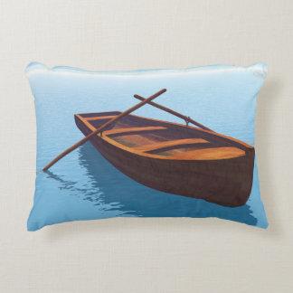 Wood boat - 3D render Decorative Pillow