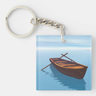 Wood boat - 3D render Keychain