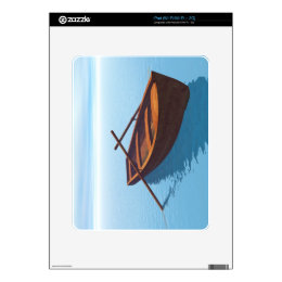 Wood boat on the water decals for iPad