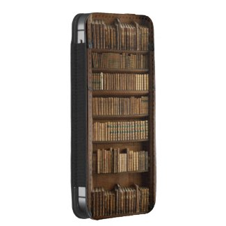 Wood Bookshelf w/ Books Iphone5 Pouch