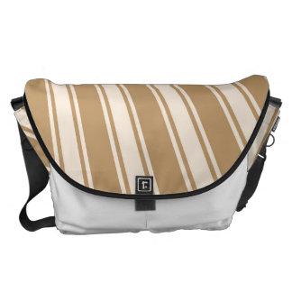 Wood brown Color Stripe Funky Pattern Messenger Bag