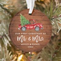 Wood Brush Script First Christmas Vintage Truck Ornament