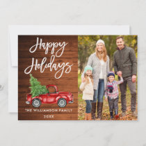 Wood Brush Script Holidays Vintage Truck Photo Holiday Card