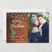 Wood Brush Script Lights Truck Photo Christmas Holiday Card