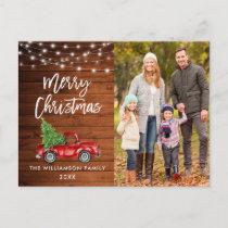 Wood Brush Script Lights Vintage Truck Christmas Postcard