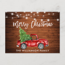 Wood Brush Script Lights Vintage Truck Tree Postcard