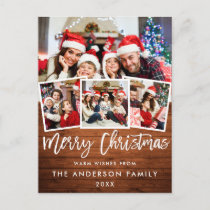 Wood Brush Script Star Merry Christmas 4 Photo Red Postcard