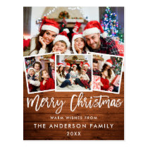 Wood Brush Script Star Merry Christmas 4 Photo Red Postcard