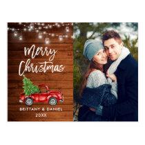 Wood Brush Script Truck Lights Photo Christmas Postcard