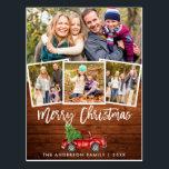 "Wood Brush Script Vintage Truck Christmas 4 Photo Postcard<br><div class=""desc"">Rustic Wood Green Brush Script Watercolor Vintage Red Truck with Christmas Tree - Merry Christmas Postcard -  4 Photos</div>"