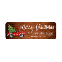 Wood Brush Script Vintage Truck Christmas Green Label