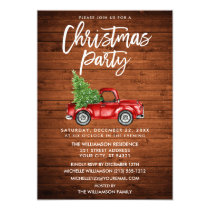 Wood Brush Script Vintage Truck Christmas Party Invitation