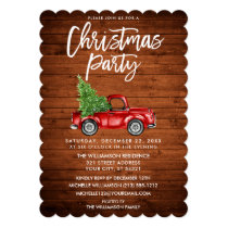 Wood Brush Script Vintage Truck Christmas Party S Invitation
