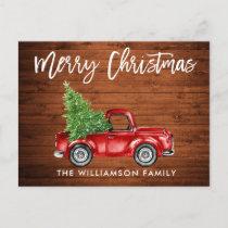 Wood Brush Script Vintage Truck Christmas Tree Postcard