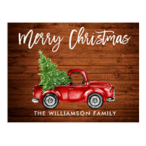Wood Brush Script Vintage Truck Christmas Tree Postcard