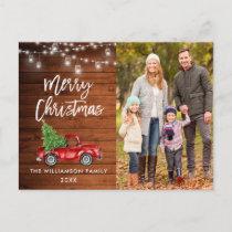 Wood Brush Script Vintage Truck Lights Christmas Postcard