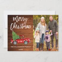 Wood Brush Script Vintage Truck Photo Christmas Holiday Card