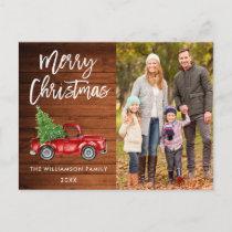 Wood Brush Script Vintage Truck Photo Christmas Postcard