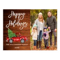 Wood Brush Script Vintage Truck Photo Holidays Postcard