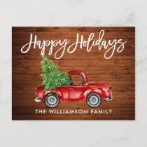 Wood Brush Script Vintage Truck Tree Holiday Postcard