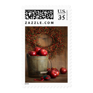 Wood bucket of apples for the holidays postage