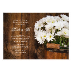 Wood Bucket White Daisies Country Bridal Shower Announcement