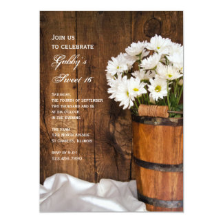 Wood Bucket White Daisies Sweet 16 Party Invite